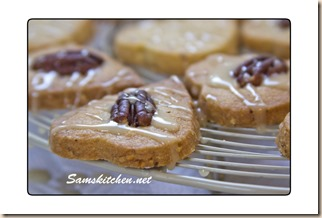 Maple & pecan shortbread glaze on rack