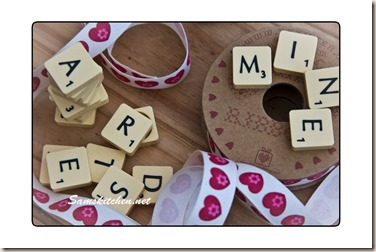 scrabble tiles & ribbon