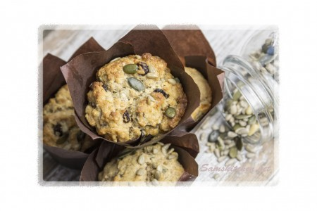 Fruit and seed muffins above