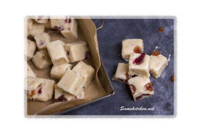 White choc & Cherry fudge sliced above